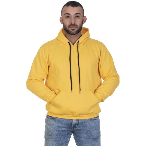 Moletom Masculino Amarelo Liso Canguru