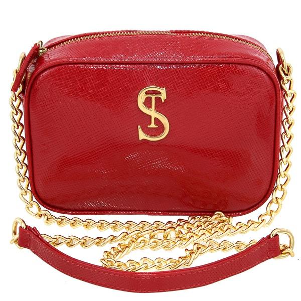 Bolsa Feminina de Couro Santiago com Alça Corrente Vermelha - Selten