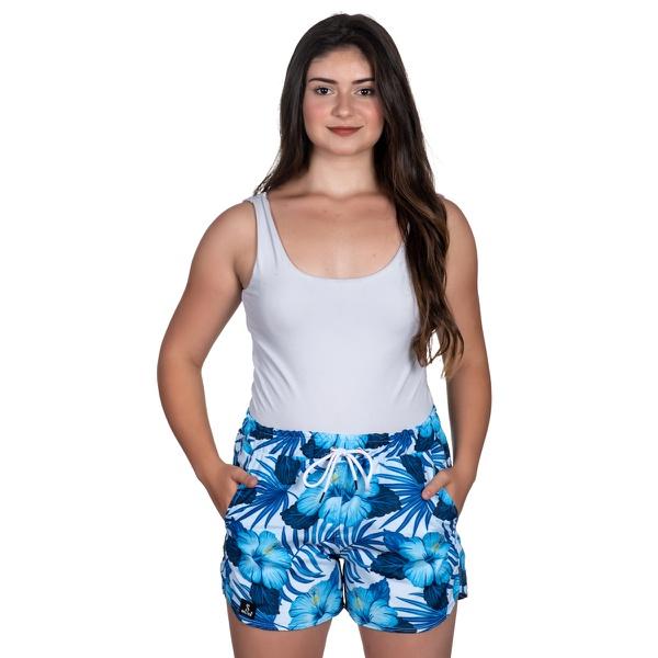 Short Tactel Feminino Summer Floral Azul