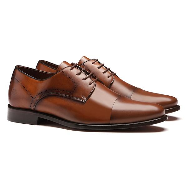 Sapato Masculino Social Derby Cap-Toe Whisky