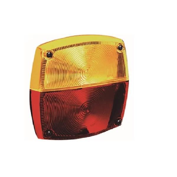 Lente Lanterna Traseira Carreta Quadrada Bicolor