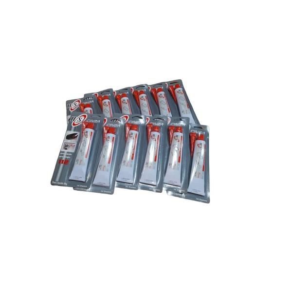 Caixa com 12-Colas Silicone Alta Temperatura Cinza 50g