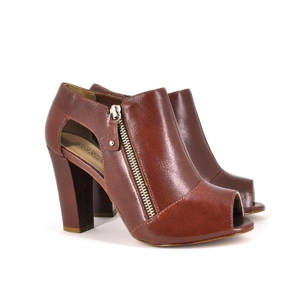 Ankle Boot Couro Pinhão