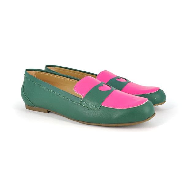 Sapatilha em Couro Verde e Pink