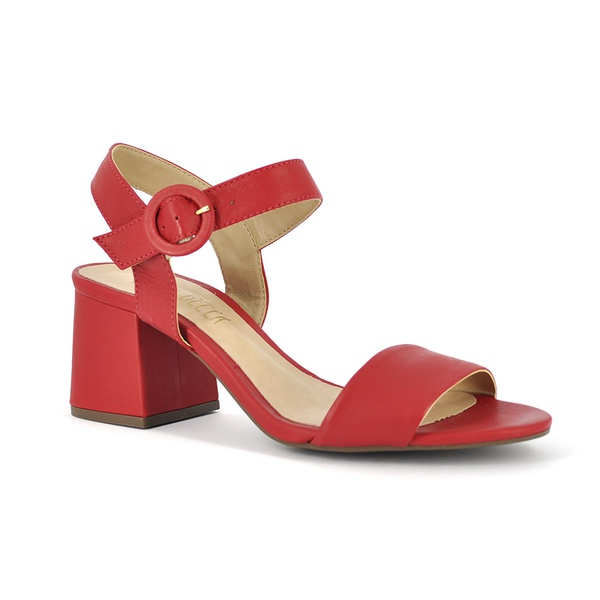 Sandália Salto Médio Vermelha