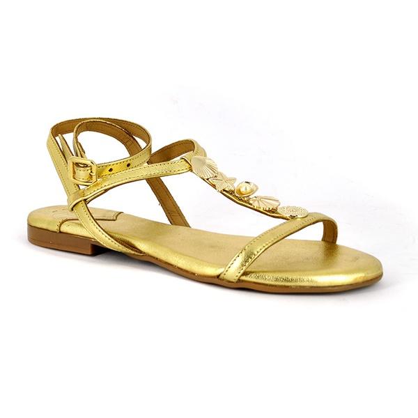 Sandália Couro Ouro