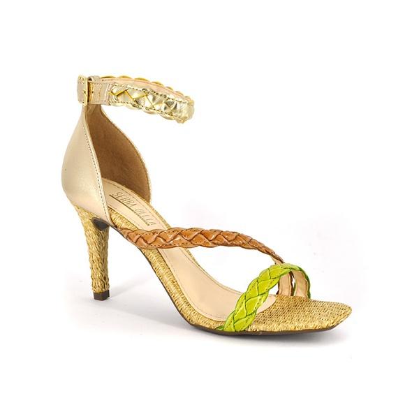 Sandália Salto Fino Couro Ouro