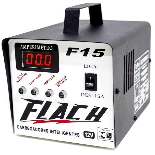 Carregador de Bateria Inteligente 15A 12V de Bateria com Auxiliar de Paertida Flach F15