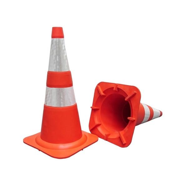 Cone Flexível 75cm Faixa Refletiva Laranja e Branco com Norma