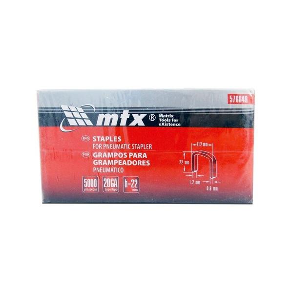 Grampos Grampeador Pneumático 5000 Peças 576649 Mtx 22mm