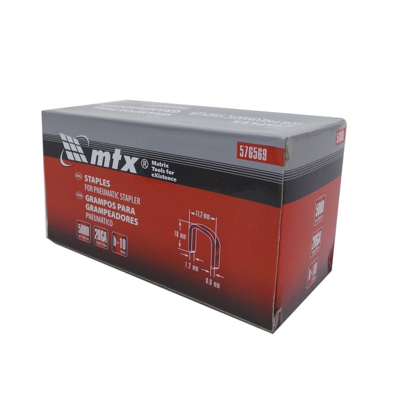 Grampos 10mm com 5000 Peças para Grampeador Pneumático 574209 Mtx
