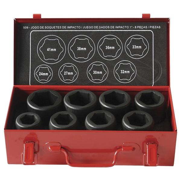 Jogo de Soquetes de Impacto com Encaixe de 1 pol. com 8 Peças de 24 a 41mm ROBUST 509 - Só Aqui Ferramentas