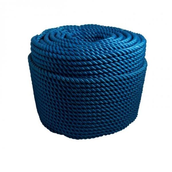 Corda Nylon Torcida Azul 25mm Rolo 220m 60Kg
