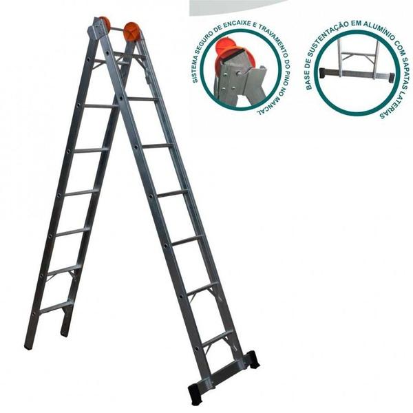 Escada de Alumínio 11 Degraus 3,38x6,24m Ágata Extensiva - ENE 011