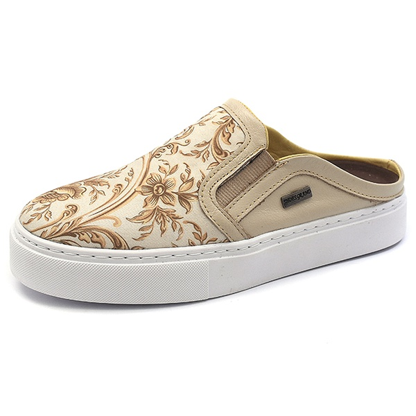MULE FEMININO SHOES GRAND 896/2 BEGE COM FLORAL PEROLA