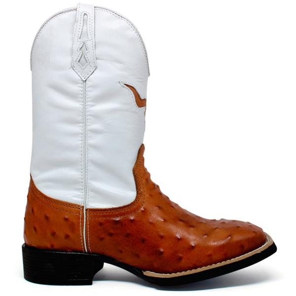 Bota Texana Masculina High Country 7600 Avestruz Réplica Tan