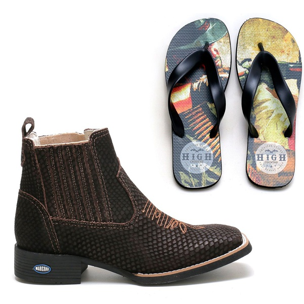 Botina Masculina Naja Café + Chinelo Red Dead High Country