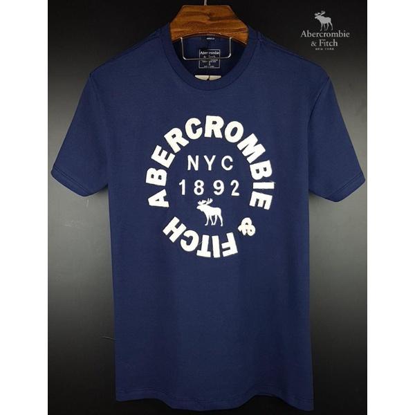 Camiseta Abercrombie Marinho com Branco