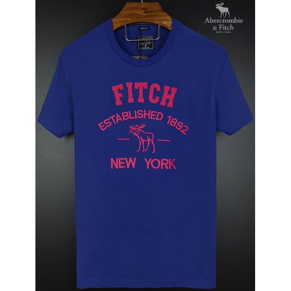 Camiseta Abercrombie Marinho/Rosa Fitch