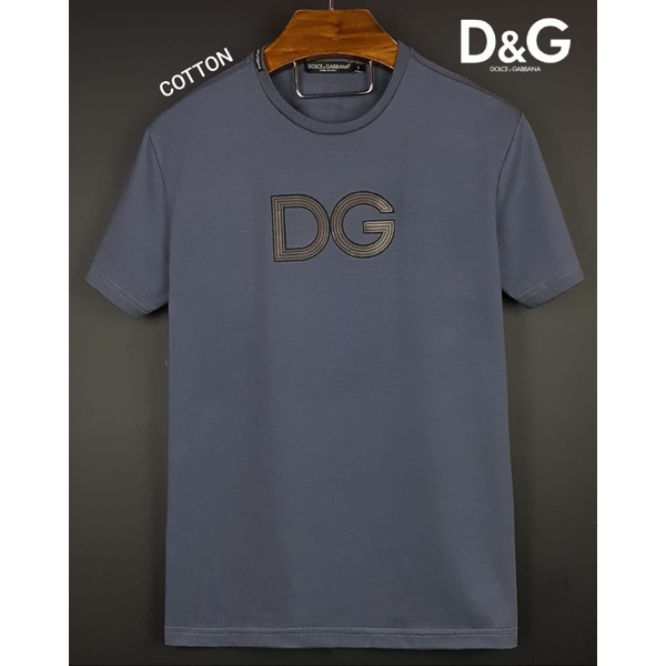 Camiseta Dolce e Gabbana Bordada Coton Peruano Chumbo
