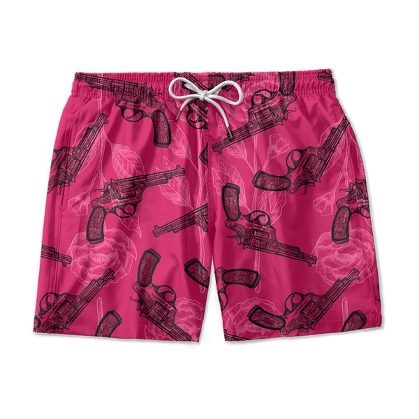 SHORT PRAIA LOVE AND GUNS PINK