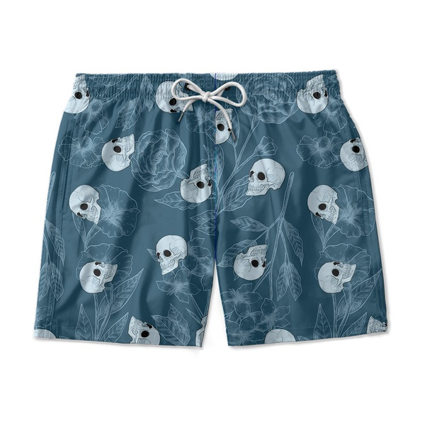 SHORT PRAIA BLUE AND SKULLS