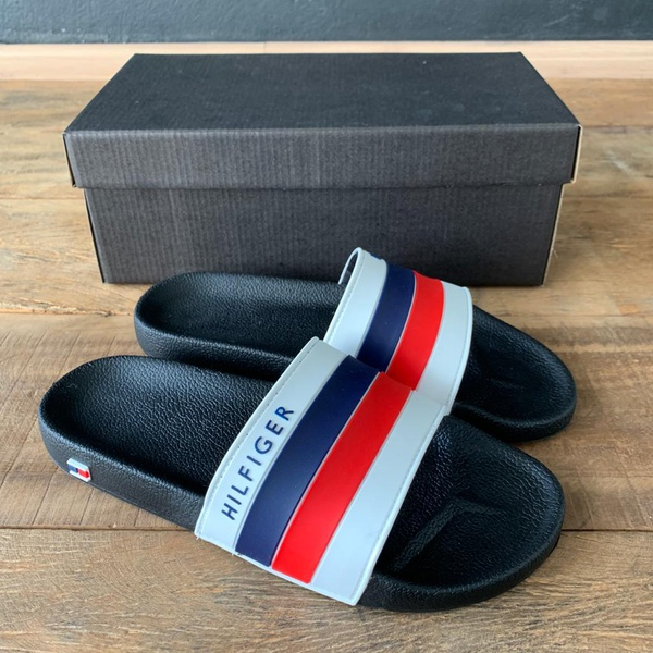 CHINELO SLIDE TOMMY TIRAS BRANCO