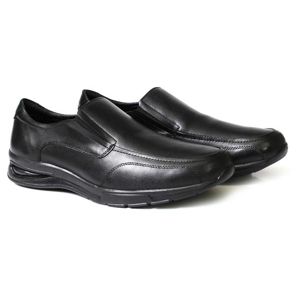 Sapato Social Confort Solado Gel Com Elástico - Couro Preto