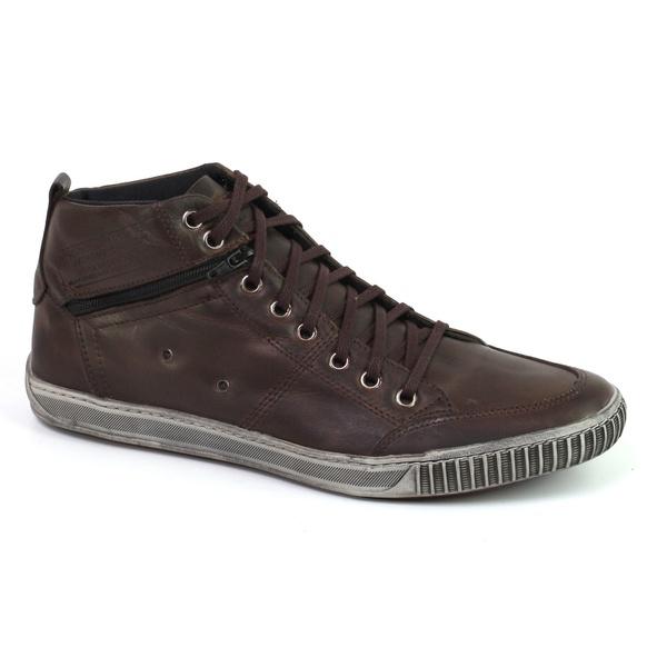 Sapatênis Casual Cano Alto Masculino em Couro Tchwm Shoes