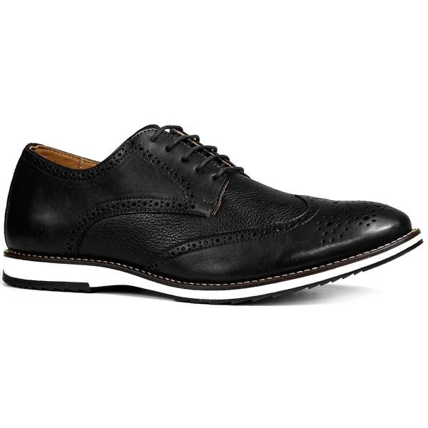 Sapato Brogue Couro Confort Tchwm Shoes Preto