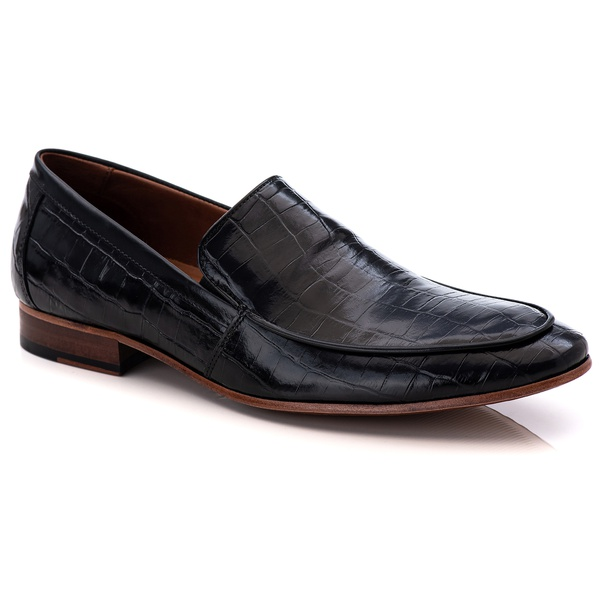 Sapato Loafer Croco Premium em Couro Preto