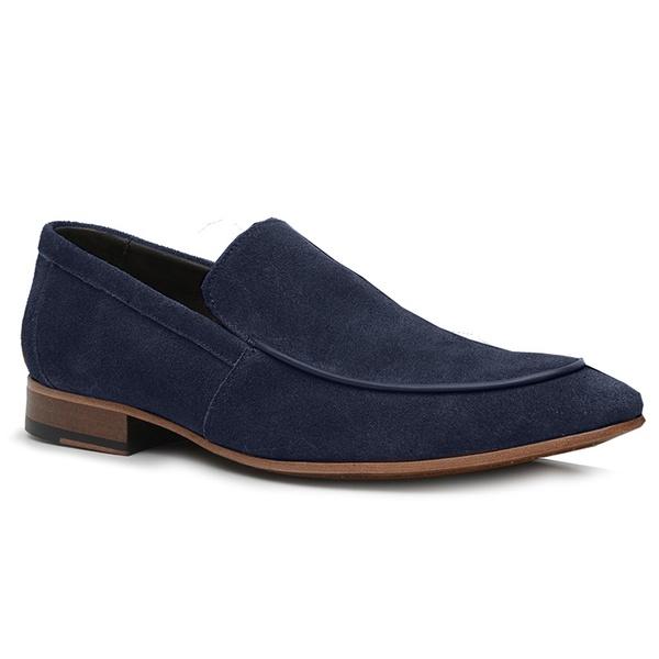Sapato Loafer Casual Premium em Couro Camurça Azul Marinho