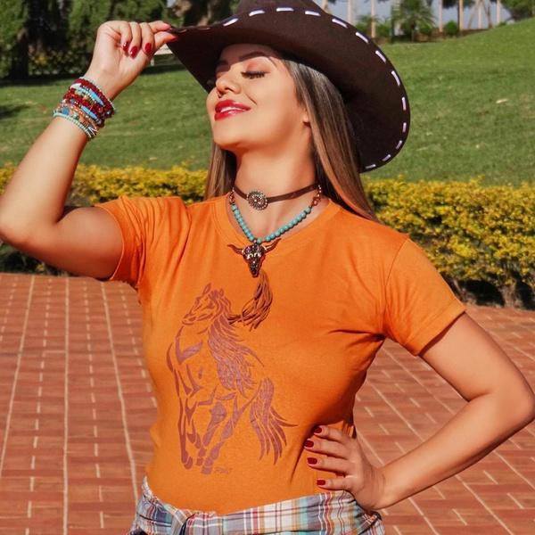 T-Shirt Feminina Cavalo Laranja