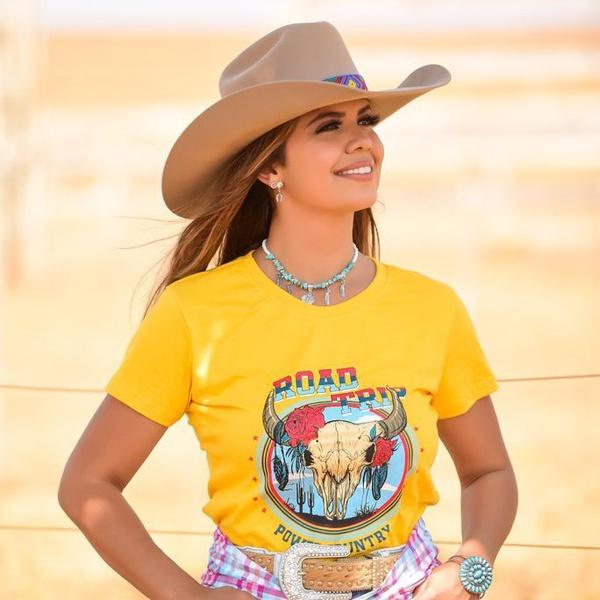T-Shirt Feminina Power Country Amarela