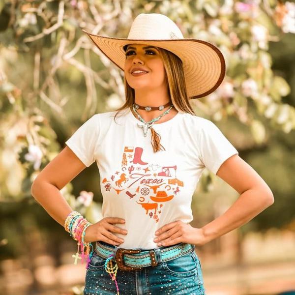T-Shirt Feminina Power Country Bege Texas