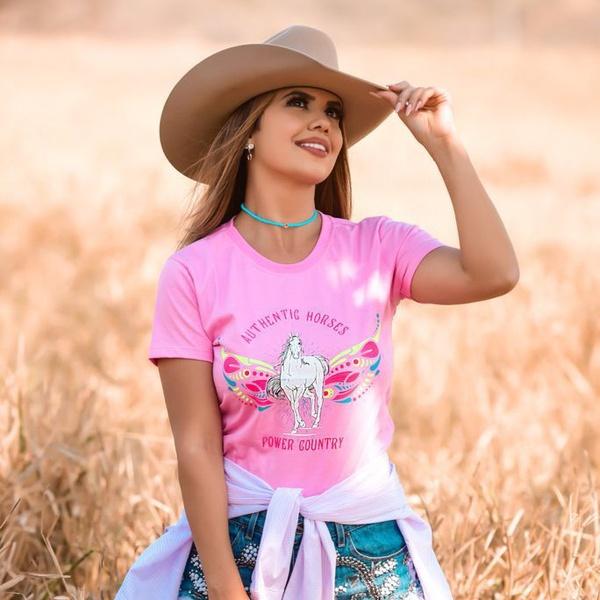 T-Shirt Feminina Power Country Rosa