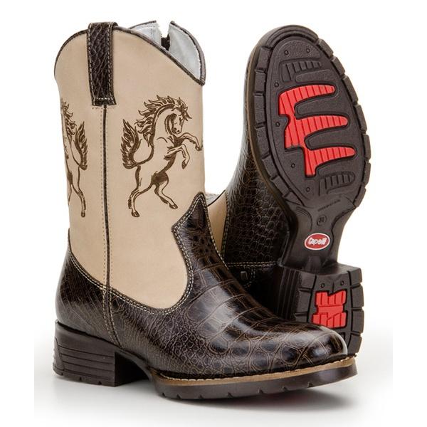 Texana Infantil Bico Redondo Couro Laser Cavalo