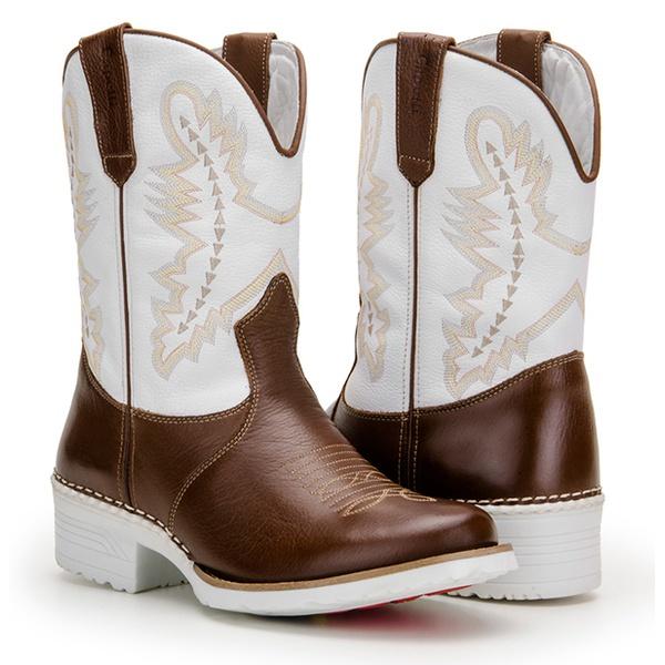 Bota Texana Masculina Bico Redondo Solado Branco