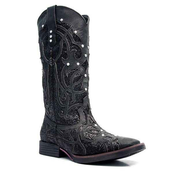 Bota Western Preta Feminina em Couro Vimar Boots