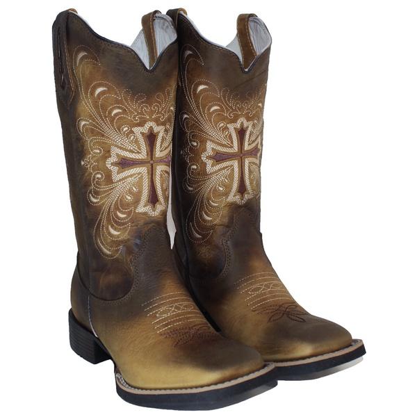 Bota Texana Feminina Hopper em Couro Envelhecida Cruz TexasKing