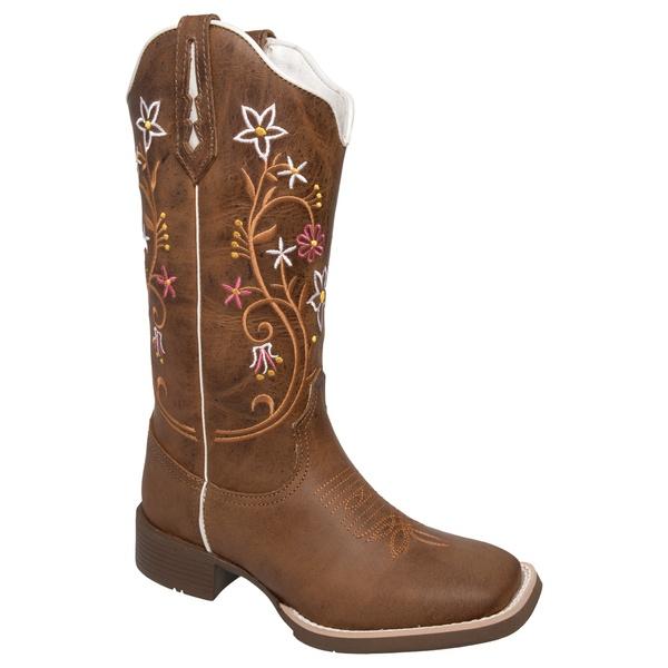 Bota Texana Feminina Floral em Couro