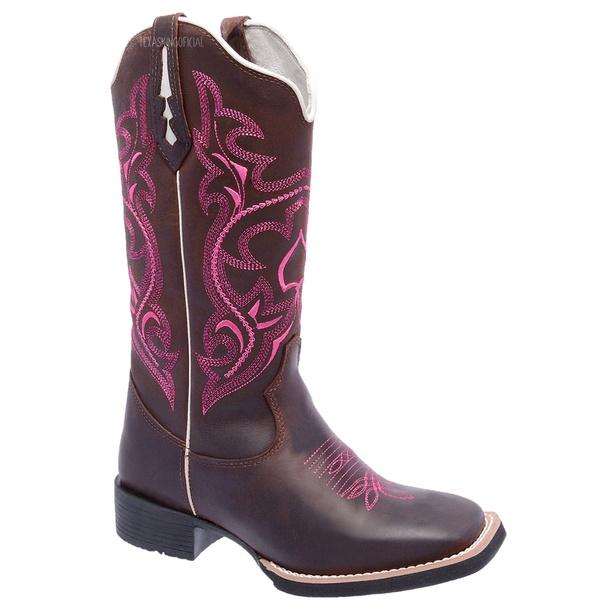 Bota Texana Feminina Hopper Fúcsia em Couro TexasKing