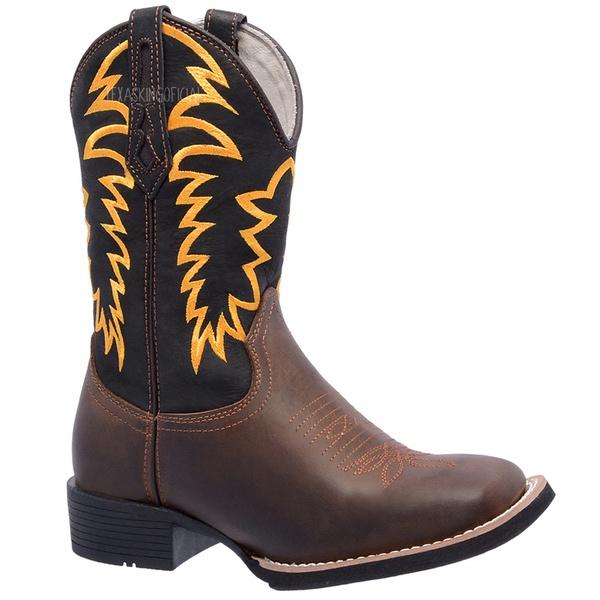 Bota Texana em Couro Bordado Amarelo TexasKing