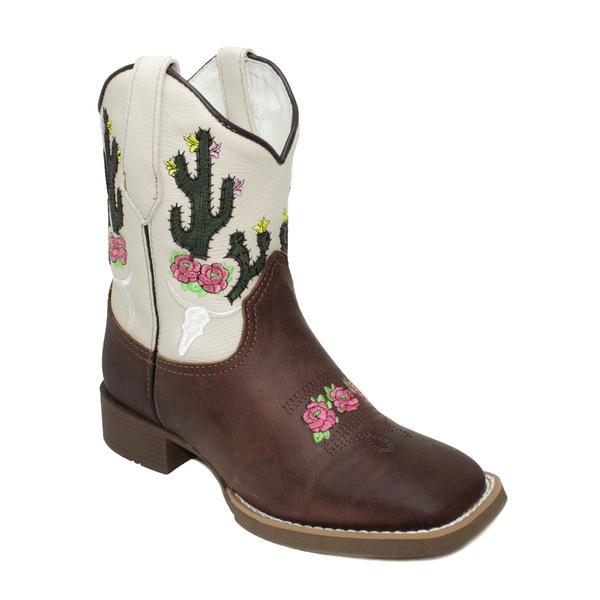 Bota Texana Cactos Marrom/Branco Cano Curto em Couro