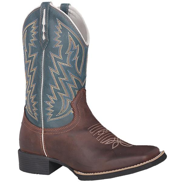 Bota Texana Masculina em Couro Azul Esverdeado Sola Preta TexasKing