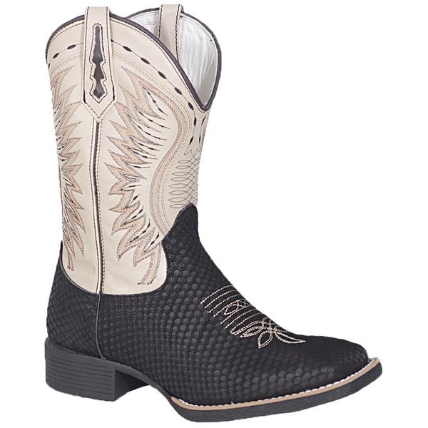 Bota Texana Black Snake Solado Preto em Couro