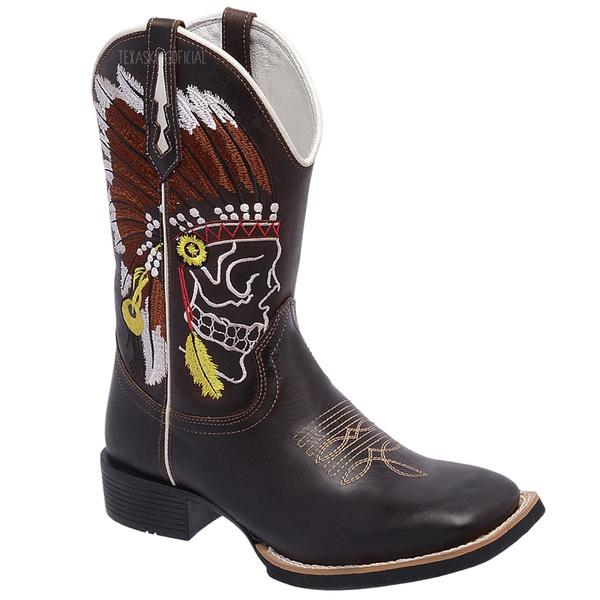 Bota Texana em Couro Bordado Índio Bico Quadrado TexasKing