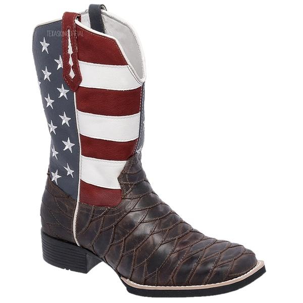 Bota Texana Masculina Estados Unidos Escamada em Couro TexasKing