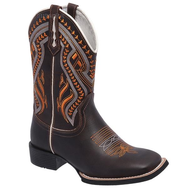 Bota Texana Masculina em Couro Bordada Bico Quadrado TexasKing
