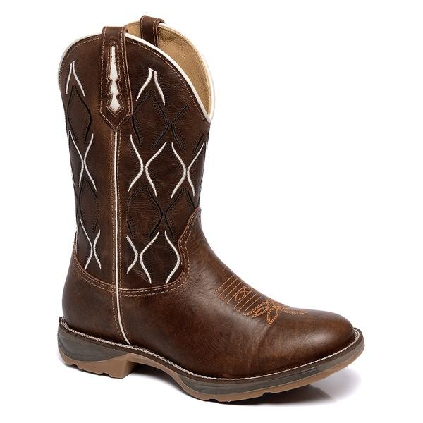 Bota Masculina Bico Redondo Texana Lisa sem Estampa na cor Mostarda